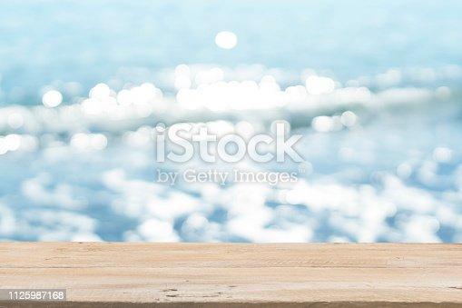 1125987088istockphoto Empty Wooden Planks with Blur Beach on Background 1125987168