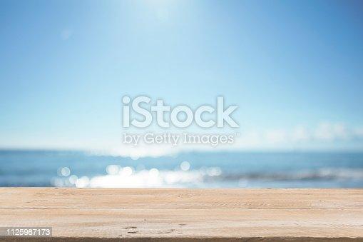 1125987088istockphoto Empty Wooden Planks with Blur Beach on Background 1125987173