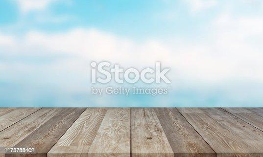 1125987088istockphoto Empty Wooden Planks with Blur Beach on Background 1178788402