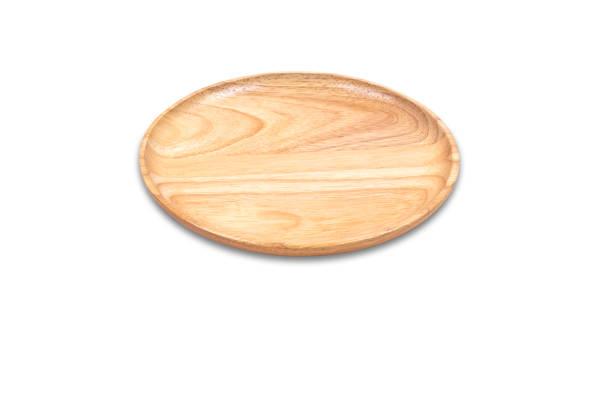 Leere Holzplatte (Schneidebrett) isoliert auf weißem Hintergrund. Kopieren Sie Raum. – Foto