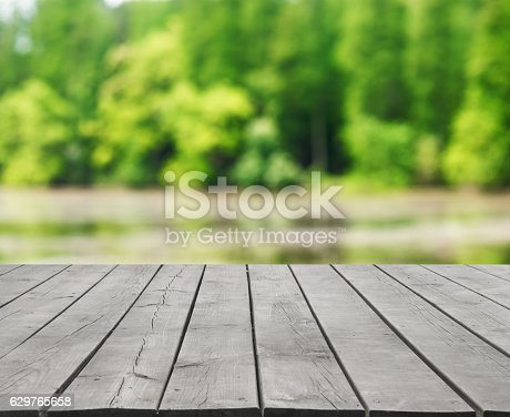 Empty wooden platform and green nature abstract background