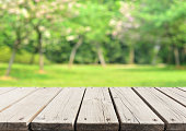 Empty Wooden Platform And Spring Forest Blur Abstract Background
