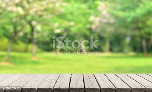Empty Wooden Platform And Spring Green Blur Abstract Background