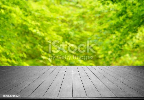 1067054470istockphoto Empty Wooden Platform And Spring Green Blurred Abstract Background 1094438378