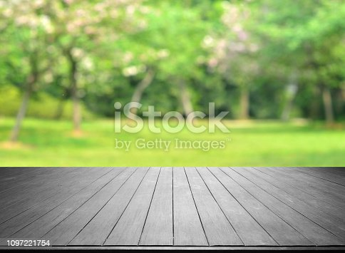 1067054470istockphoto Empty Wooden Platform And Spring Green Blurred Abstract Background 1097221754