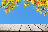 istock Empty wooden platform with beautiful autumn leaves and blue sky background 1180027377