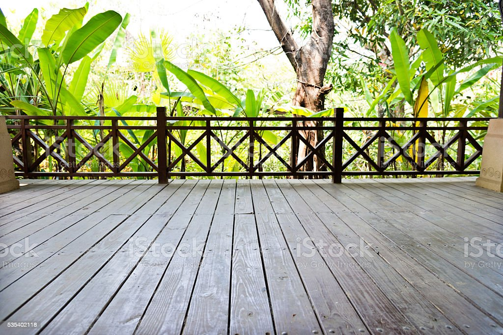 Empty wooden platform with green plant in the background stock photo