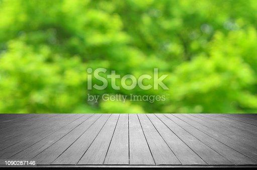 1067054470istockphoto Empty Wooden Platform With Spring Green Blurred Abstract Background 1090287146