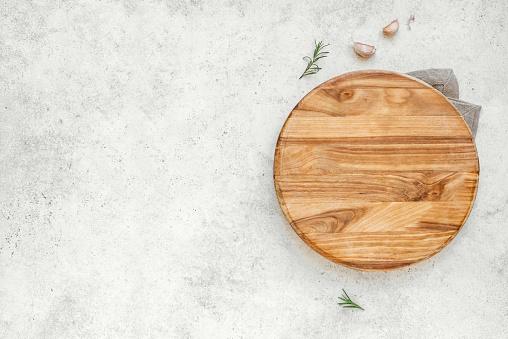 Empty wooden round board