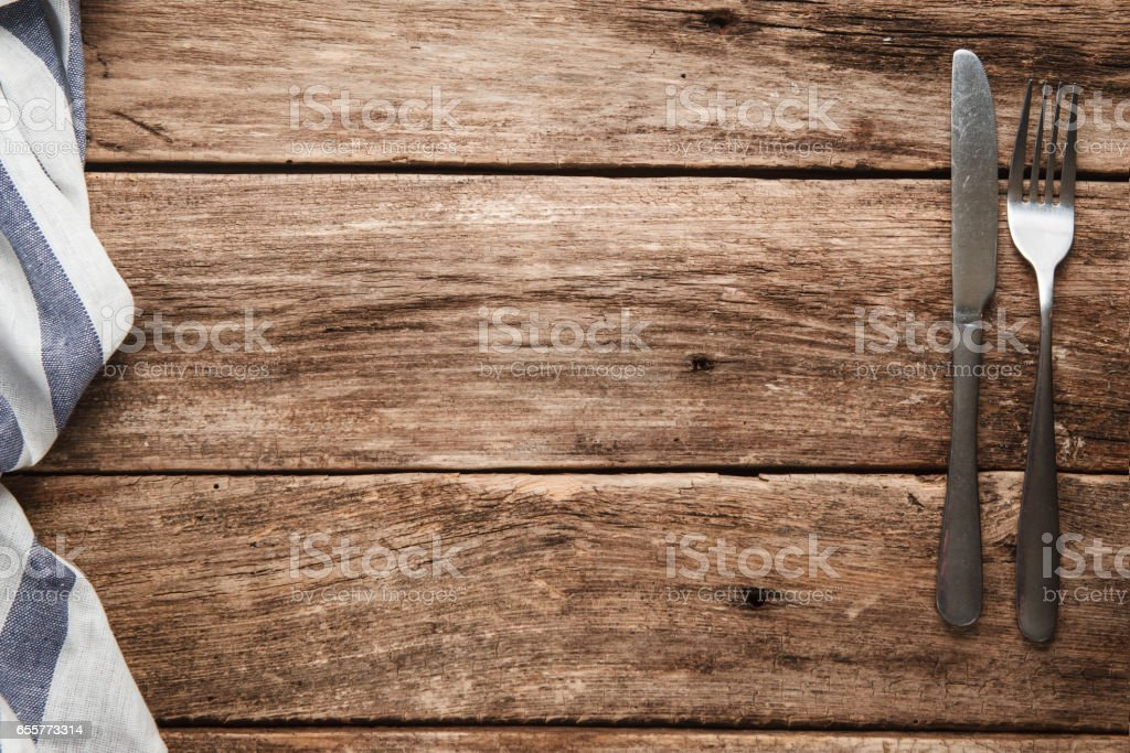 Empty wooden rustic table served for meal. stock photo