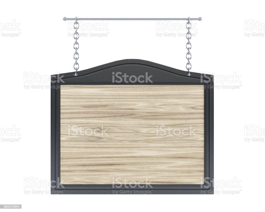 Leere hölzerne Schild mit Metallrahmen auf weißem Hintergrund – Foto