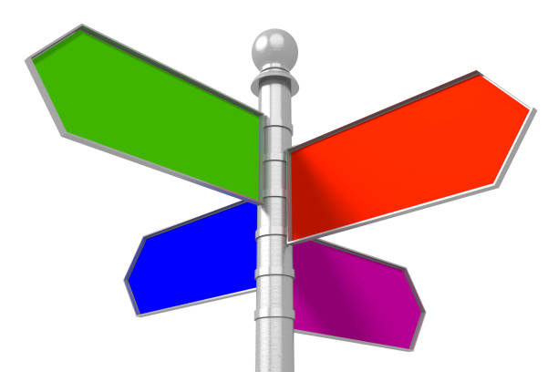 Empty wooden signpost - four arrows stock photo