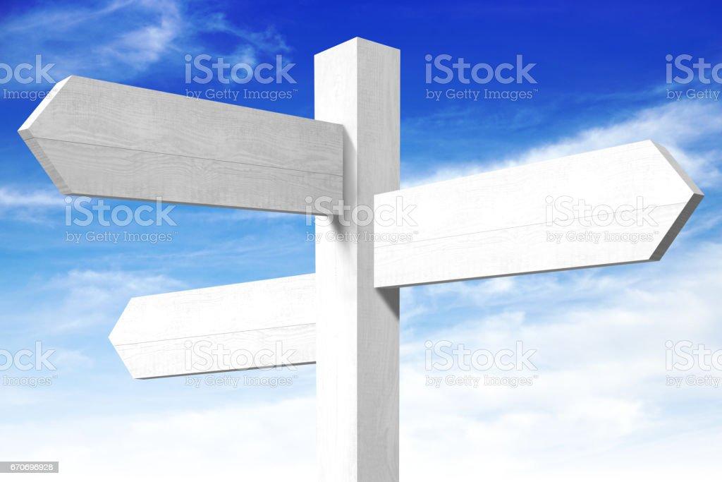 Empty wooden signpost stock photo