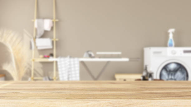 Empty Wooden Surface and Laundry as Background stock photo