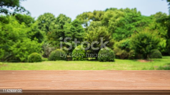 1067054470istockphoto Empty wooden table and spring forest blur abstract background 1142939102