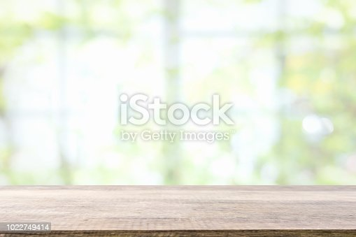 1002094650istockphoto Empty wooden table and window room interior decoration background, product montage display,can be used for display or montage your products.Mock up for display of product. 1022749414
