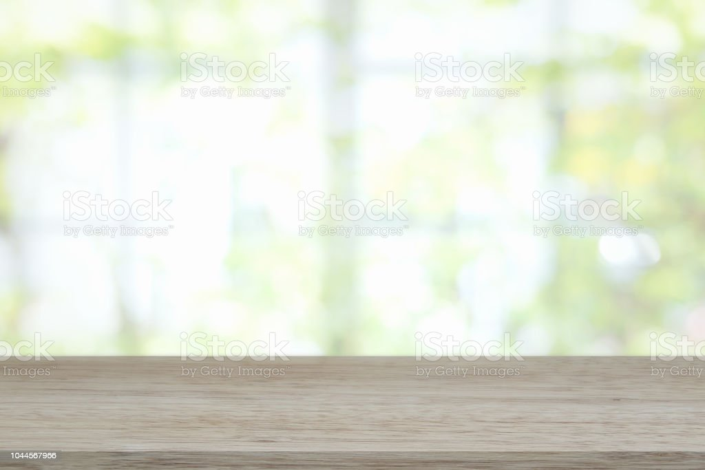 Empty wooden table and window room interior decoration background,...