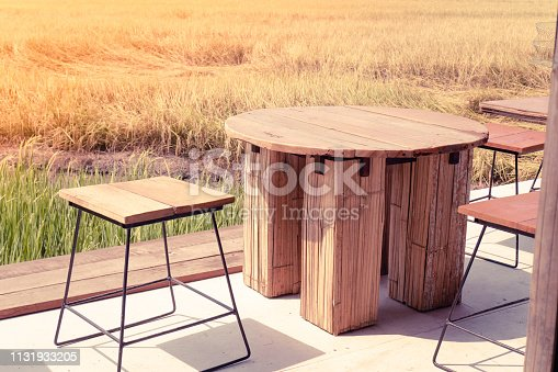 1135319558 istock photo Empty wooden table chair in open fields.freedom.office.everywhere.lifestyle concept idea background 1131933205