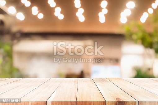 istock Empty wooden table for present product. 852418454