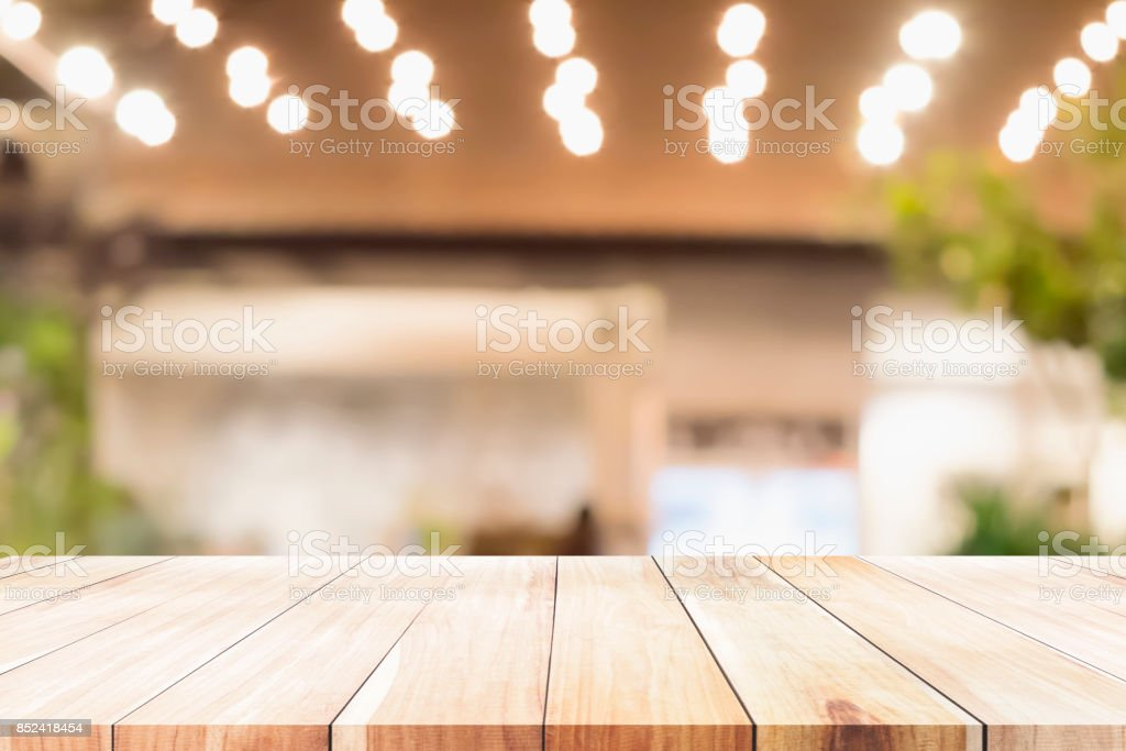 Empty wooden table for present product. stock photo