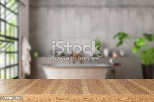 Empty Wooden Table in Bath Room. 3d Render
