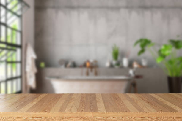 Empty Wooden Table in Bath Room stock photo