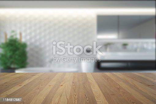 819534860istockphoto Empty Wooden Table in Bath Room 1184812687