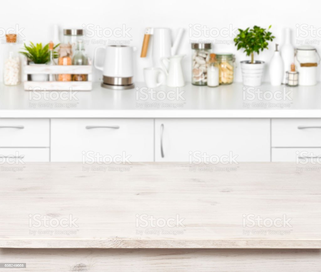 Kitchen Background Image: Empty Wooden Table On Blurred Background Of Various