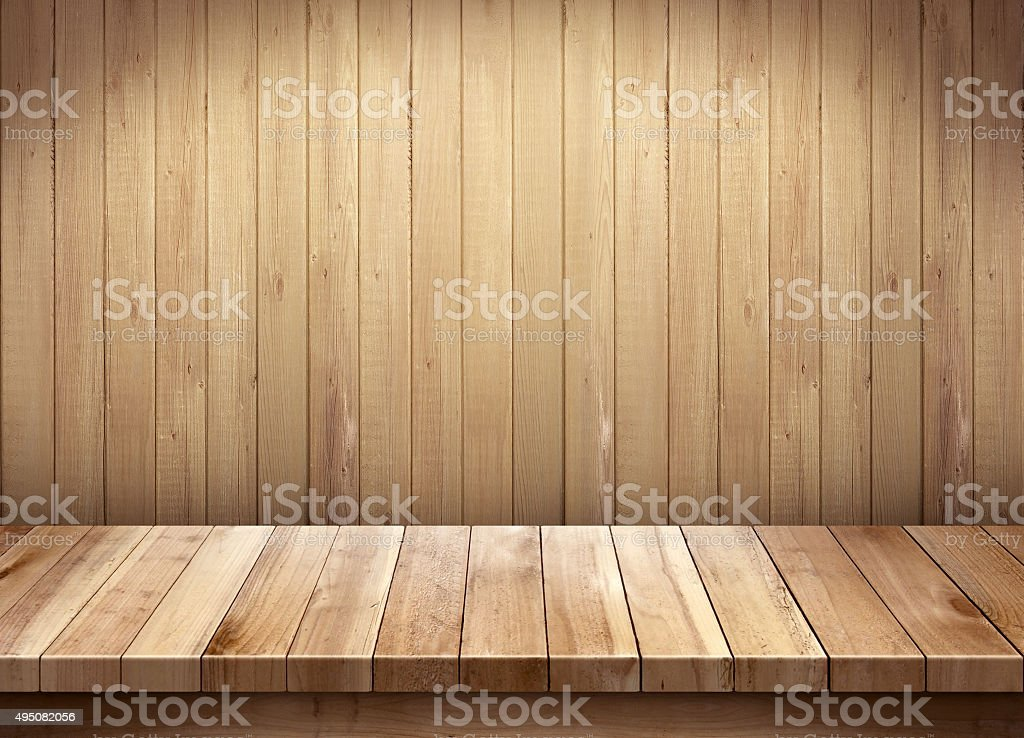 Empty wooden table on wooden background stock photo