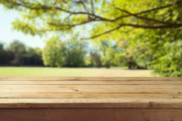 Empty wooden table over autumn nature park background stock photo