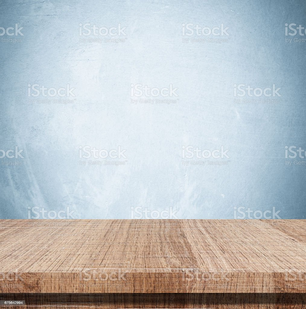Empty wooden table over grunge cement wall, vintage, background, template, product display montage royalty-free stock photo