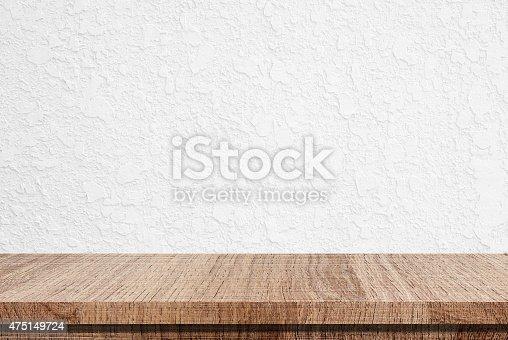 leere holztisch ber wei er beton wand hintergrund. Black Bedroom Furniture Sets. Home Design Ideas
