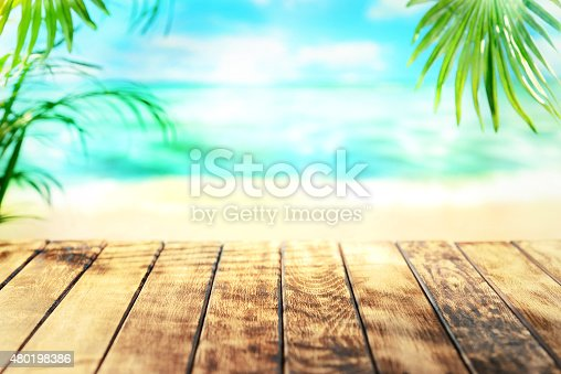 istock Empty wooden table 480198386