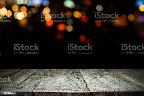 Empty wooden table platform and bokeh at night picture id498688230?b=1&k=6&m=498688230&s=612x612&h=g7uoaqn9buch9bgtfi83d5oofgqwjiwyrxaf9rlber8=