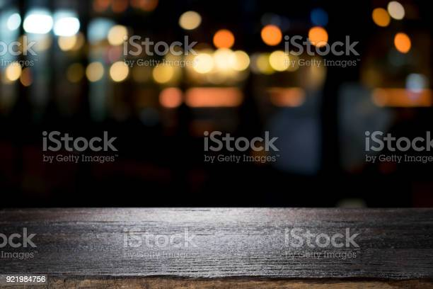 Empty wooden table platform and bokeh at night picture id921984756?b=1&k=6&m=921984756&s=612x612&h=dc963linrodkzm4z krbl5kmbcj09jkf7ciqhzx8elg=