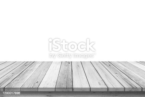 834157738 istock photo Empty wooden table top isolated on white background, Design Wood terrace white. 3d illustration of free space for your copy and branding. Can be used as product display montage. Vintage style concept. 1200017698