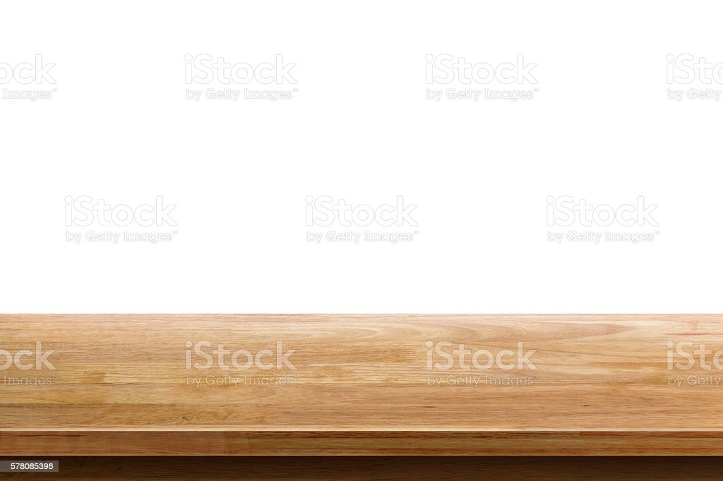 empty wooden table top isolated on white background bildbanksfoto