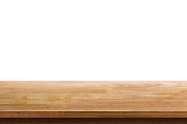 empty wooden table top isolated on white background - diminishing perspective stock photos and pictures