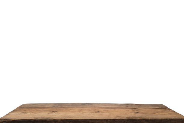 Empty Wooden Table top Isolated on White Background stock photo