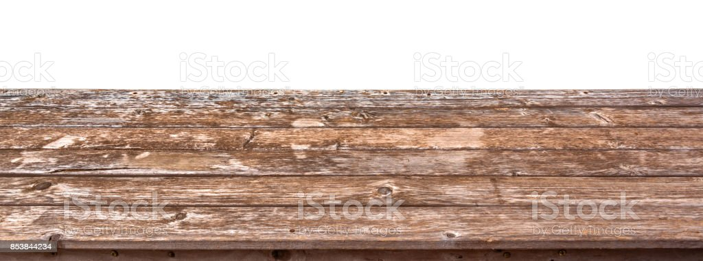 Empty wooden table top isolated on white background, ready to use for display or montage of your products stock photo