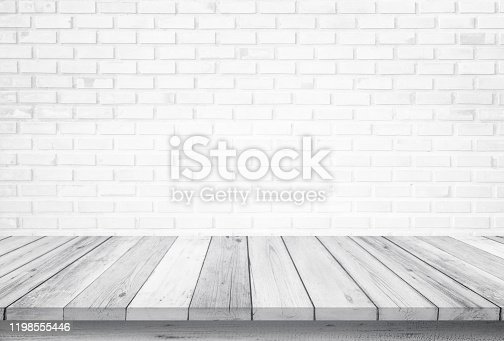 834157738 istock photo Empty wooden table top isolated on white brick white background, Design Wood terrace white. Free space for your copy and branding. Can be used as product display montage. Vintage style concept. 1198555446