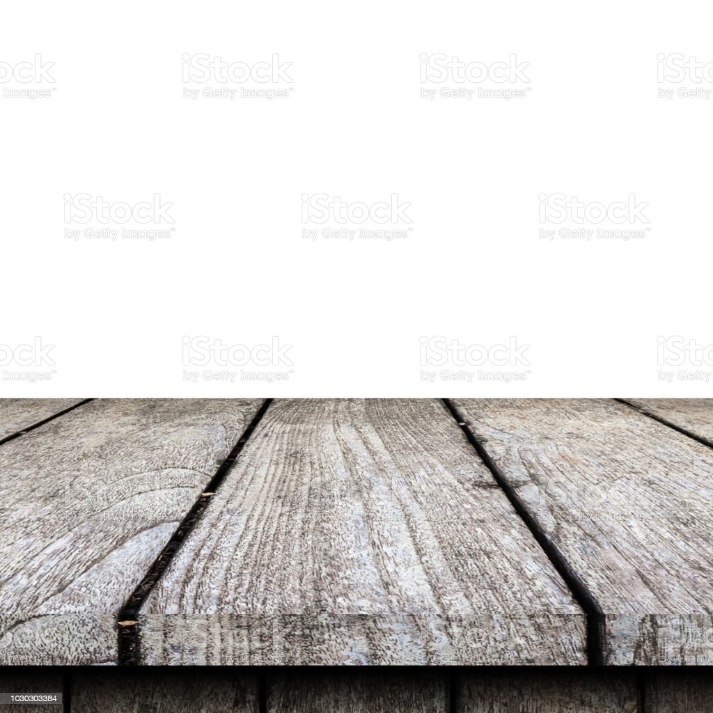 Empty Wooden Table Top On Isolated White Template Mock Up For
