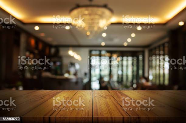 Empty wooden table top with blur coffee shop or restaurant interior picture id878508270?b=1&k=6&m=878508270&s=612x612&h=ic6x4apm2lskljjvzztpec8r3fotmr4crwlsxzvxtus=