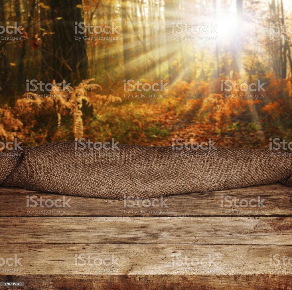 Empty wooden table with an autumn forest backdrop royalty-free stock photo