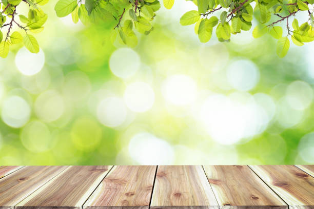Empty wooden table with blurred city park on background The top has a natural  bokeh light,Mock up for display.  montage of product,Banner or header for advertise on social media,Spring and Summer. stock photo