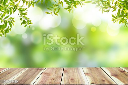 641254964 istock photo Empty wooden table with blurred city park on background The top has a natural  bokeh light,Mock up for display.  montage of product,Banner or header for advertise on social media,Spring and Summer. 1057071460