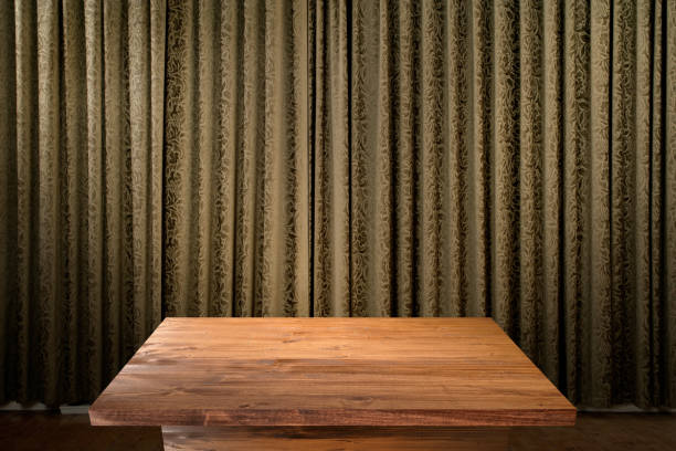 Empty wooden table with copy space stock photo