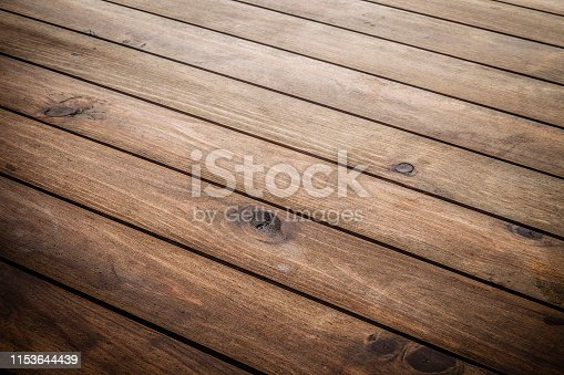 High angle view of an empty wooden table with diagonal stripes ideal for product display. Predominant color is brown. DSRL studio photo taken with Canon EOS 5D Mk II and Canon EF 100mm f/2.8L Macro IS USM