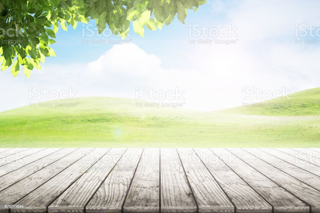 Empty wooden table with party in garden background blurred. 免版稅 stock photo