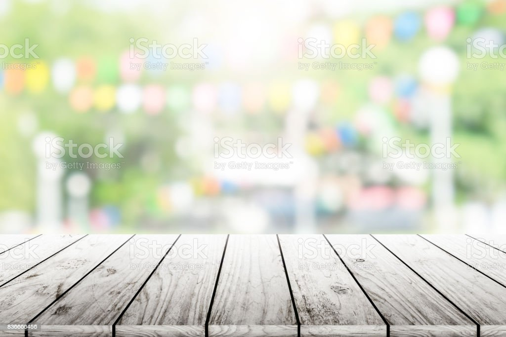 Empty Wooden Table With Party In Garden Background Blurred ...